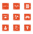 license contract icons set grunge style vector image vector image