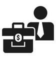 man bribery money bag icon simple style vector image vector image