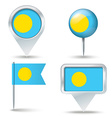 Map pins with flag of Palau vector image
