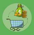money and shopping vector image vector image