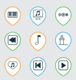 music icons set with rewind music back computer vector image vector image