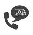 phone call to ambulance glyph icon vector image vector image