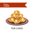 puri cakes on plate with ornament isolated vector image vector image