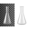 realistic laboratory glassware glass flask beaker vector image vector image