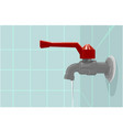 realistic of faucet on the blue wall with water vector image vector image