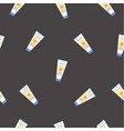 seamless pattern with sunscreen creams on black vector image