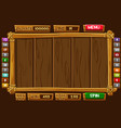 set cartoon wood assets interface and buttons vector image