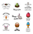 set cute easter cartoon characters vector image