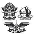 set of aircraft emblems labels badges logos vector image