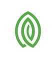 simple geometric green leaf logo vector image