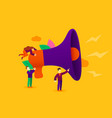 small cartoon people with megaphone announcement vector image vector image