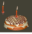 Sweet cake with butter cream and burning candle vector image vector image