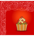 sweet cream cupcake with flowers vector image