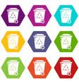 trash wheelie bin icons set 9 vector image vector image