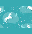 unicorn and moon on blue background vector image