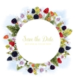 Watercolor round berry frame vector image vector image
