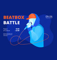 youngster in snapback and hoodie beatboxing print vector image
