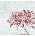 Grungy retro background with chrysanthemum flower vector image