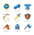 Knight weapon cartoon icons set Medieval weapons vector image