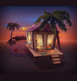 night tropical island straw hut among palm trees vector image