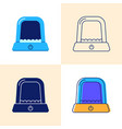 automatic litter box icon set in flat and line vector image