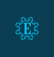 blue e initial letter in classic frame vector image vector image