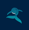 BLUE WHALE away logo sign emblem on dark blue vector image vector image