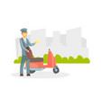 cheerful postman in uniform delivering letters vector image vector image