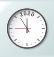 clock isolated on background with copy space 2020 vector image vector image
