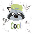 cool raccoon cartoon vector image