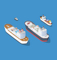 cruise boat and naval ships vector image vector image