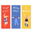 dancing girls motivational color cards flat banner vector image vector image