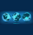 earth globe set with continents vector image vector image