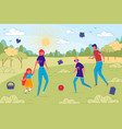 family playing together during walk in city park vector image