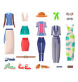 female bright summer clothes and stylish shoes set vector image vector image