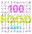 food icon big set line style icons pack vector image vector image