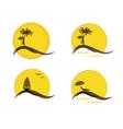 Four summer logo with sun palm trees ocean or