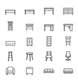Furniture Office and Home Accessories Icons Line vector image vector image