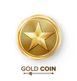 game gold coin with star realistic golden vector image vector image