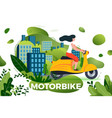 girl riding on motorbike vector image vector image