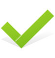green check mark tick icon with snick and shadow vector image
