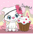 greeting card cute kitten with cake vector image vector image