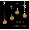 Hanging christmas balls Dash line with bows Gold vector image vector image