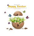 happy easter card cracked egg and flowers vector image