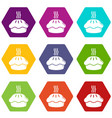 hot cupcake icons set 9 vector image vector image