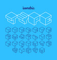 isometric 3d outline font three-dimensional vector image vector image