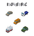isometric automobile set of auto first-aid lorry vector image vector image