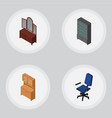 isometric design set of cupboard office drawer vector image vector image