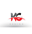 kc k c brush logo letters with red and black vector image