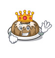 king bundt cake mascot cartoon vector image vector image